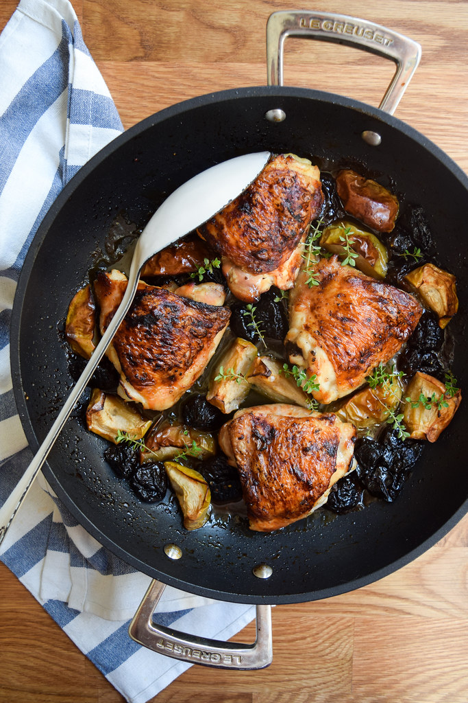 One Pan Autumn Chicken with Apples & Prunes