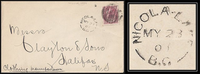 British Columbia / B.C. Postal History - 23 May 1900 - NICOLA LAKE, B.C. (split ring / broken circle cancel / postmark) to Halifax, Nova Scotia