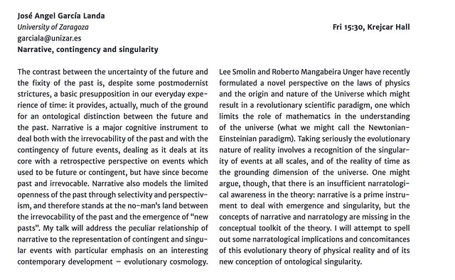 Narrative, Contingency and Singularity