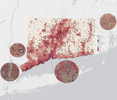 A map of impervious surfaces in Connecticut.