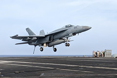 Capt. Rovenolt lands an F/A-18E Super Hornet from Strike Fighter Squadron (VFA) 27 aboard USS Ronald Reagan (CVN 76), Aug. 17. (U.S. Navy/Lt. Kale Nickels)