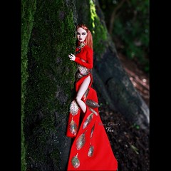 pure embers doll dolls uk pureembers photography laura england poppy parker embersfox rimdoll ooak repaint portrait integrity toys red dress tree