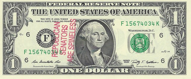 Republican Senators overstamp on $1 bill