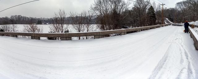 Boatman Rd bridge, snow, Overton County, Tennessee