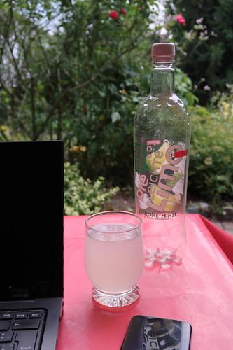 Limonade mit Zitrone-Minz-Geschmack (auf der Terasse unserer Ferienwohnung)