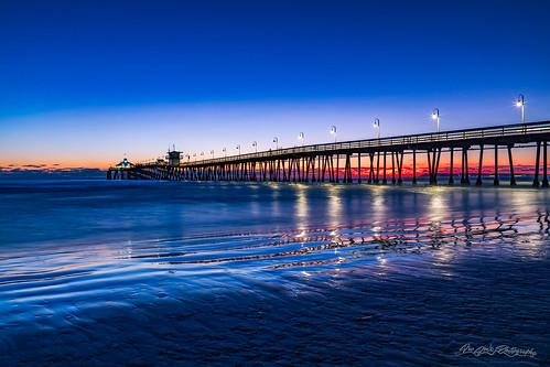 america beach blue bluehour california coast horizon imperialbeach northamerica ocean orange pier pointloma red reflections sandiego summer sunset travelandtourism usa unitedstates water waves yellow unitedstatesofamerica 150faves
