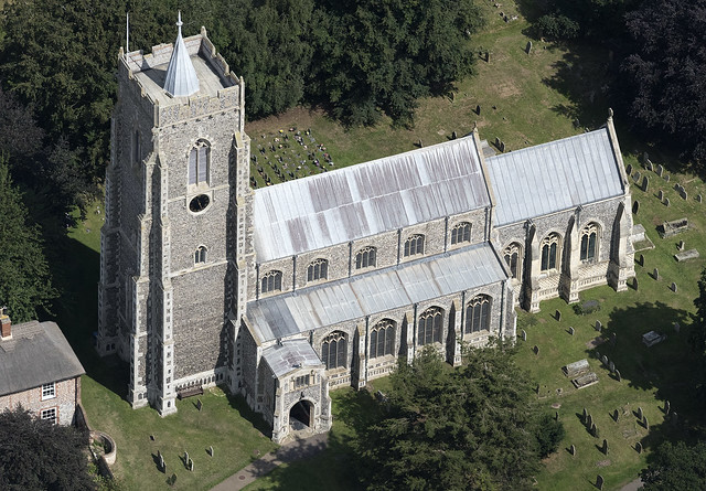The Parish Church of Saint Mary the Virgin in Martham - Norfolk UK aerial image