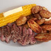 Steak, Corn on the cob and ovenroasted potatoes