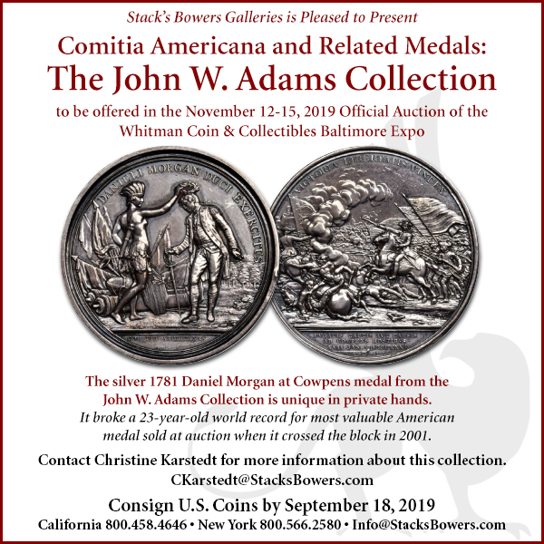 Stacks-Bowers E-Sylum ad 2019-08-18 Adams sale