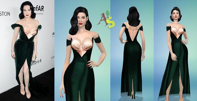 *NEW* Dita Von Teese green velvet dress