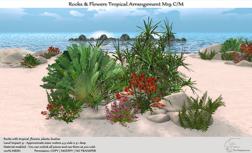 .:Tm:.Creation Rocks & Flowers Tropical Arrangement M19