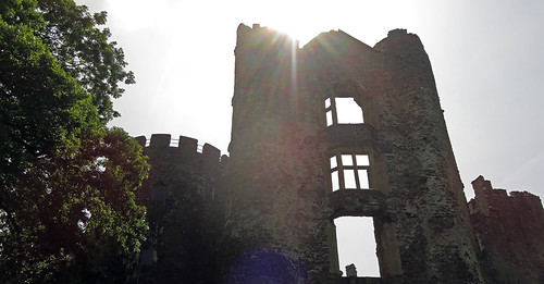 Looking up and being blinded by the sun at Laugharne Castle in Wales
