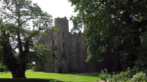 A side-view of Laugharne Castle in Wales