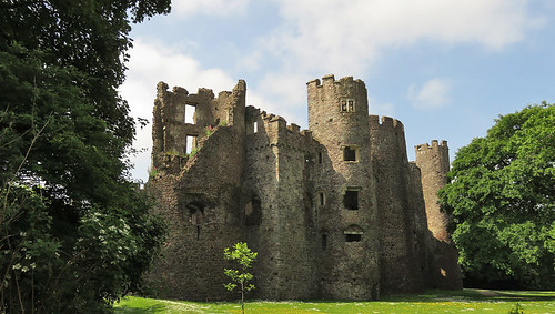A side view of Laugharne Castle in Wales