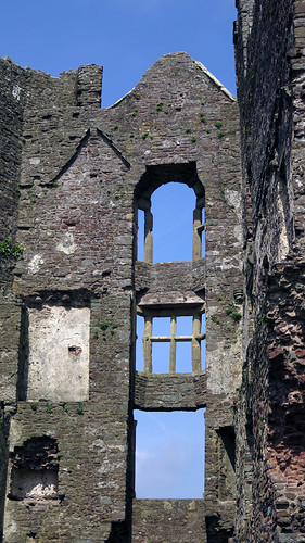 Openings in the wall where the windows used to be (Laugharne Castle in Wales)