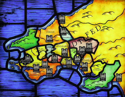 A map in stained glass shows the many castles in this region of Wales