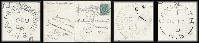 Nova Scotia / Cape Breton Postal History - 9 / 11 October 1909 - EAST BAY NORTH SIDE (Cape Breton County), N.S. (split ring / broken circle cancel / postmark) via Christmas Island (Cape Breton County), N.S. to Coxheath, (Cape Breton County), Nova Scotia