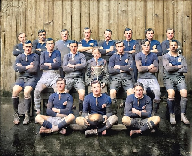 Fireman's rugby football team 1912 colorized by Ahmet Asar
