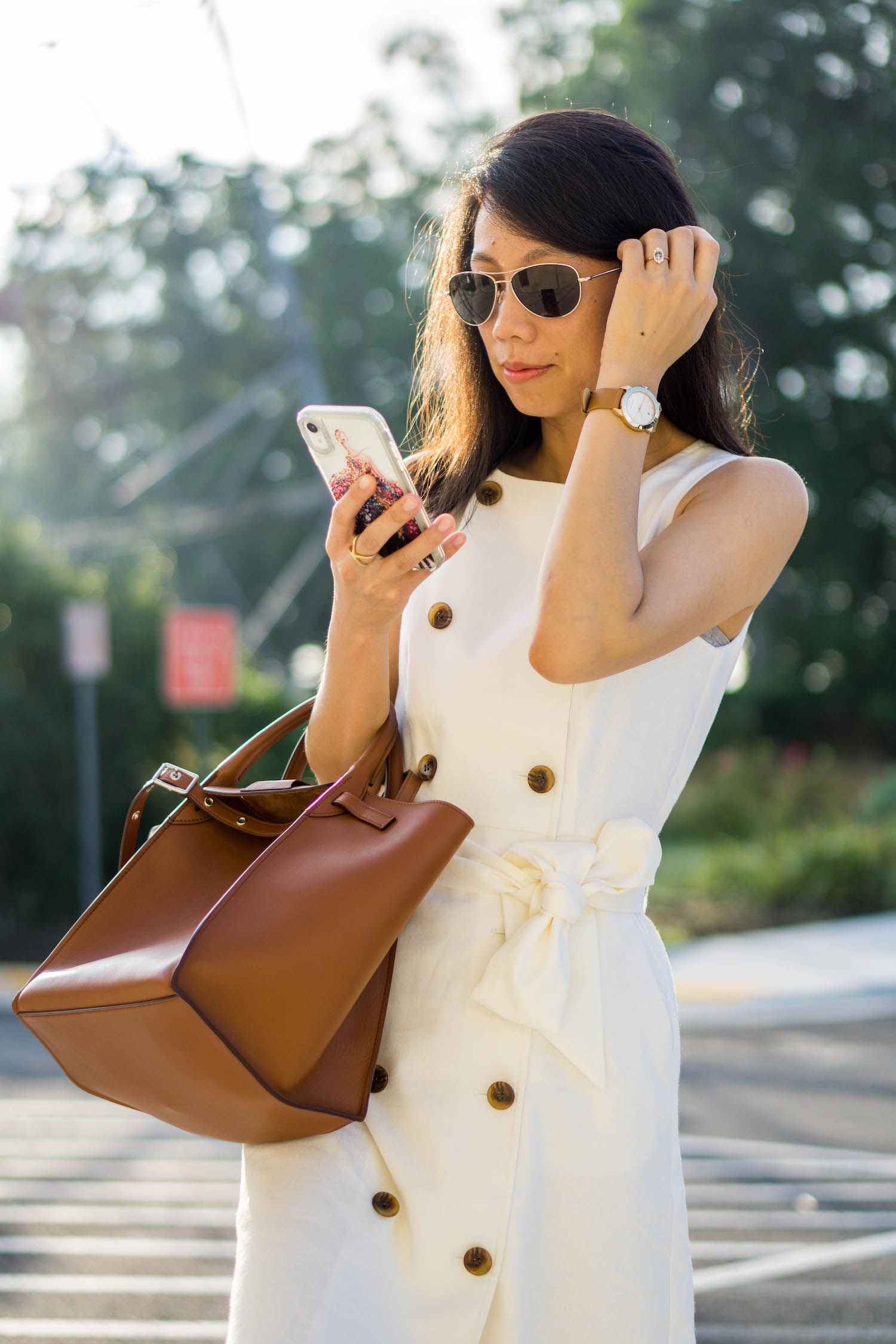 J.Crew double-breasted sleeveless sheath dress in stretch linen, Tory Burch Whitney leather strap watch, Kristin Coffin small Sofia ring, Celine small big bag