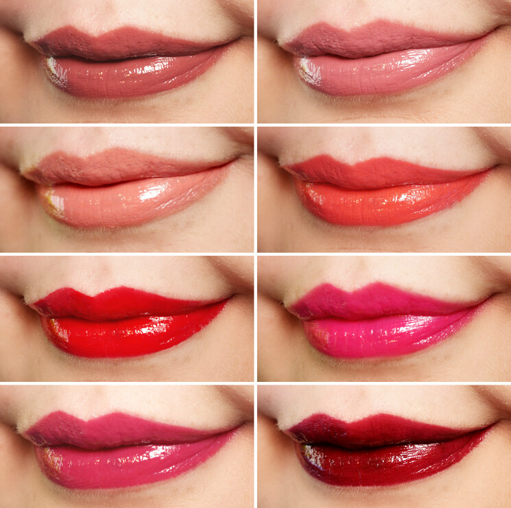 Revlon vinyl lip polish swatch collage