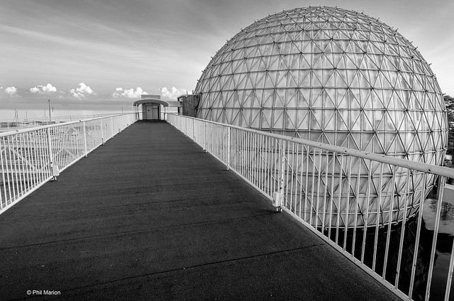Cinesphere in black and white - Ontario Place, Toronto