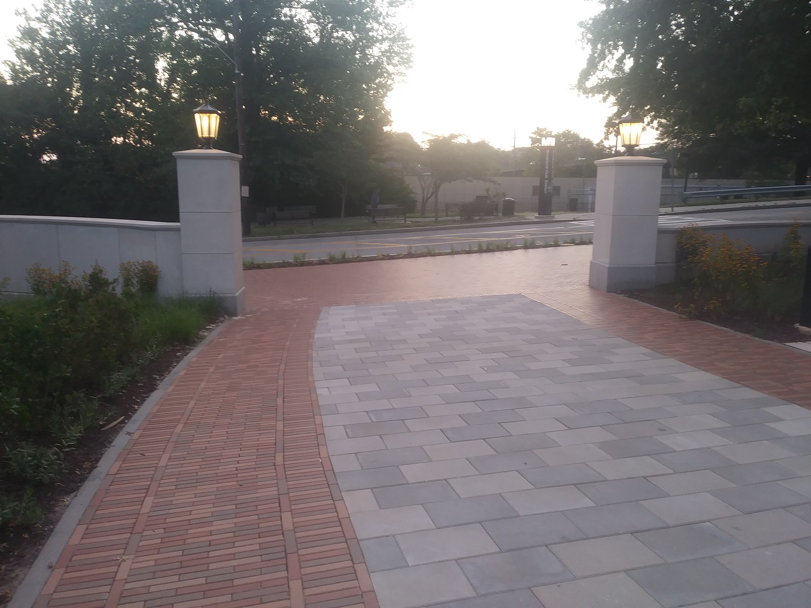 New Catholic University pedestrian walkway jogs rather than continues across McCormack Road to the Brookland Metrorail Station