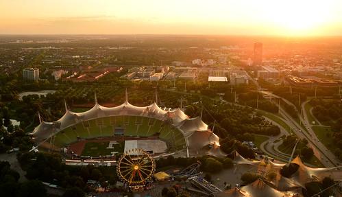 germany munich münchen bayern deutschland bavaria olympic olympiapark sunset sonnenuntergang 2019 sommerfestival impark ©allrightsreserved stadium ferriswheel riesenrad olympiastadion city cityscape