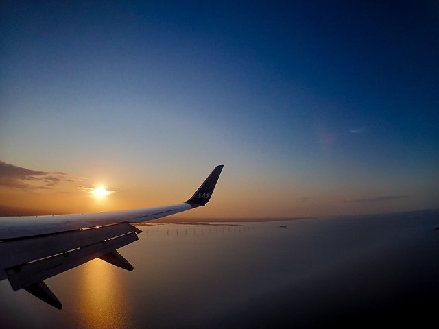 Sunset flight. Landing in Copenhagen.