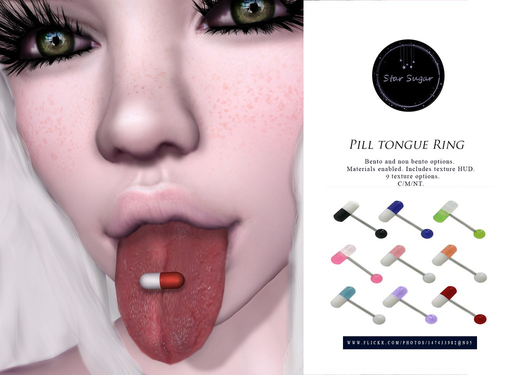 Pill tongue ring