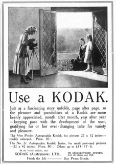 1919 advertisement for Kodak cameras