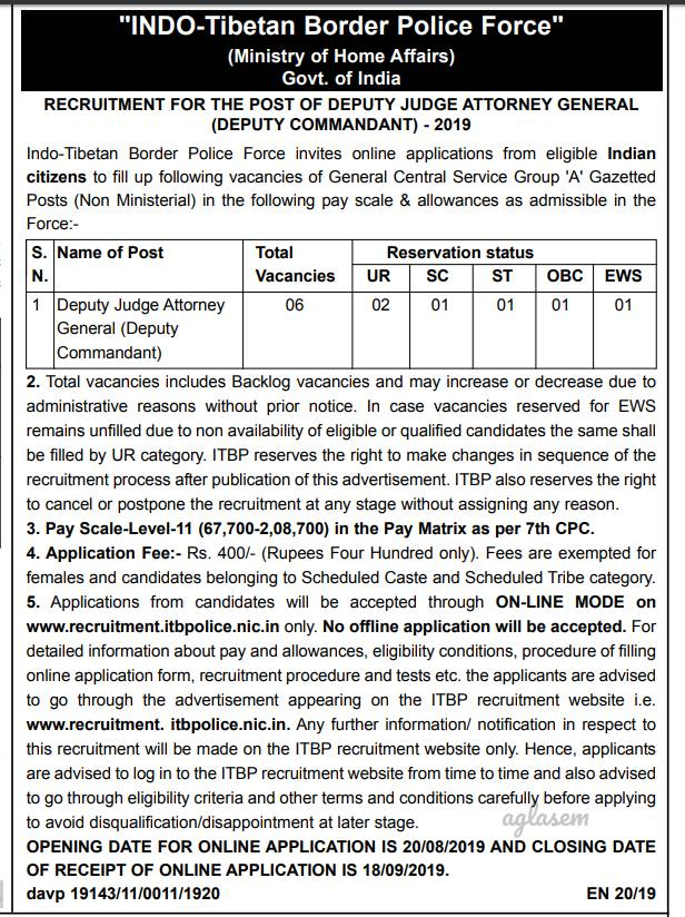 Law Jobs In Government Sector: ITBP invites applications for Deputy Judge Attorney General recruitment 2019