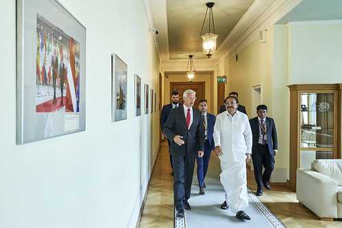 20.08.2019. Ministru prezidents Krišjānis Kariņš tiekas ar Indijas viceprezidentu Venkaia Naidu