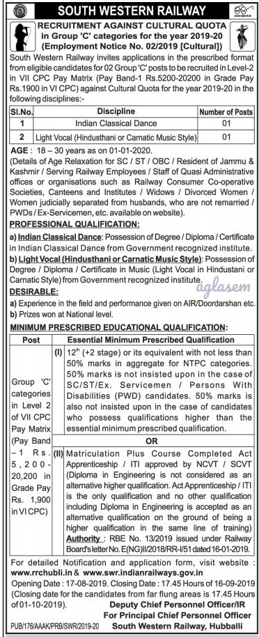 Music and Dance in Indian Railways! South Western Railway opens cultural quota recruitment for Indian classical dance and Light vocal music