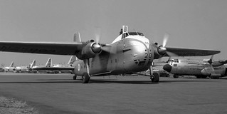"""1961 RNZAF 41 Sqn Bristol Freighter NZ5903 taxiing past USAF and RAAF Hercules during exercise """"Air Progress"""" at RAF Station Kallang, Singapore"""