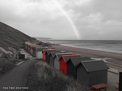 Monochrome Red Beach Huts