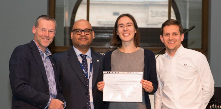 Viviane Runa at the 20th UK Young Water Professionals Conference with her best presentation prize.