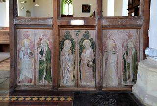 rood screen (north side, reversed): St Bartholomew, St Matthew, St James the Less, St Philip, St Anthony, St Thomas (15th Century)
