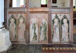 rood screen (south side, reversed): St Andrew, St Peter, St John, St James, St Jude, St Simon (15th Century)