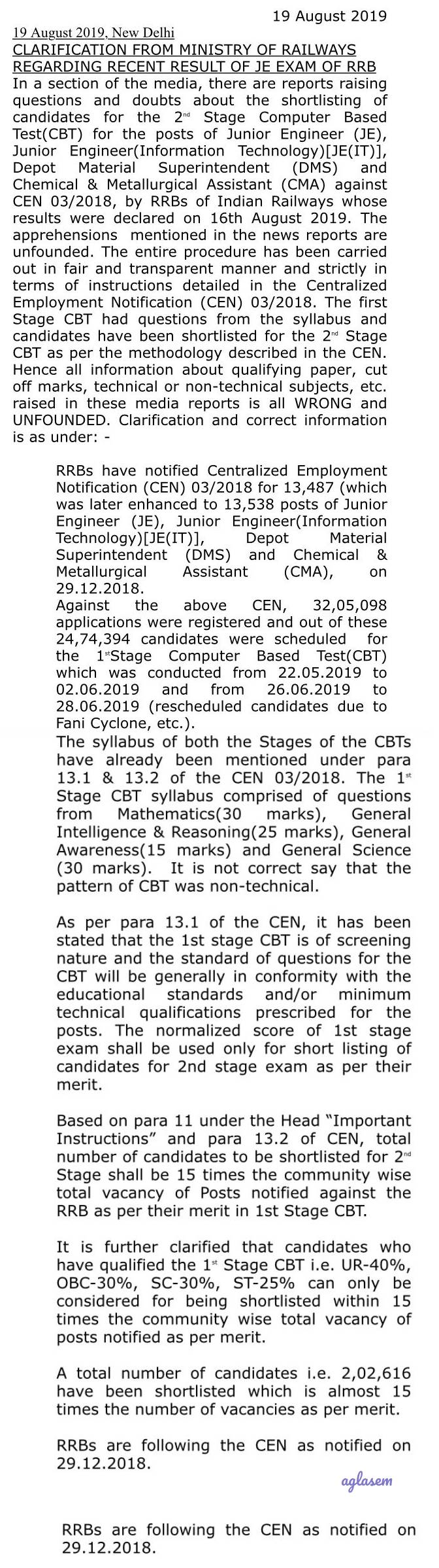 Ministry of Railways publishes clarification on RRB JE Result 2019 on Twitter in light of protests, says RRBs are following CEN