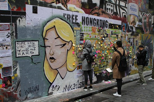 Messages cover the Lennon Wall in Melbourne (25 July 2019)