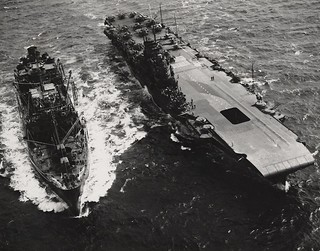 USS CIMARRON refuels the (USS ROBIN)  (HMS VICTORIOUS) on 12th July 1943.