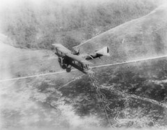 World War I Spad over Argone Forest with French trenches below 1914-1918