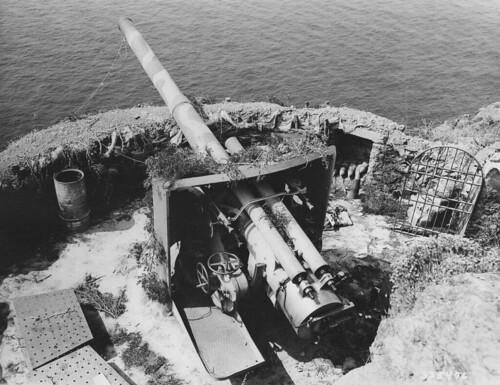 Italian 152 mm artillery gun from a coastal battery on Elba Island Italy July 1944.