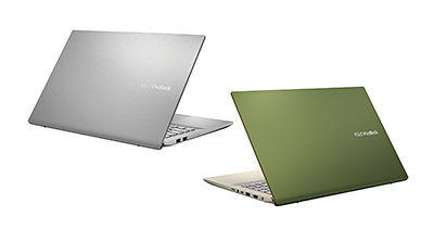 ASUS VivoBook S15 (S531) in Transparent Silver and Moss Green.