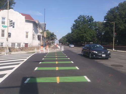 Cycletrack under construction on Florida Avenue NE