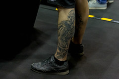 Man with a Gollum (Smeagol) - Lord of the Rings - Tattoo on his calf