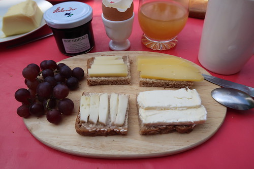 Diverse Käse auf Brot - und dazu dunkle Trauben