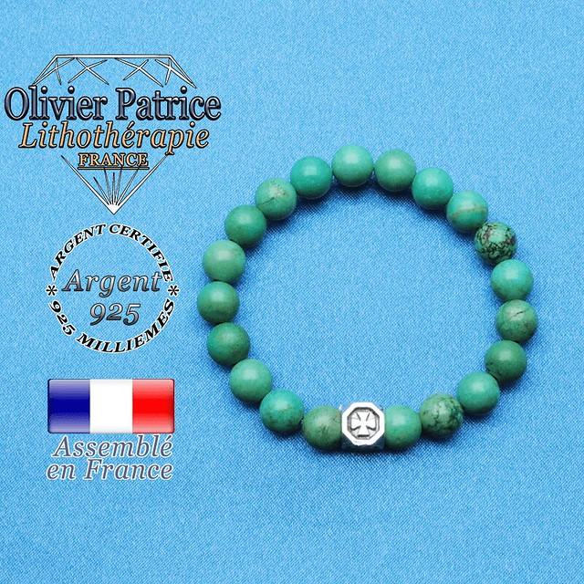 Bracelet turquoise du Tibet et cube croix en argent 925