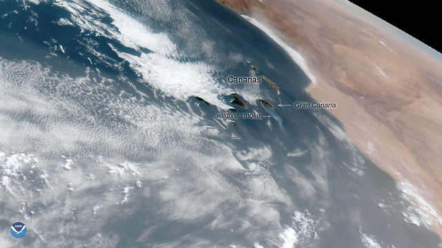 GOES East Focuses On Wildfire Smoke in the Canary Islands