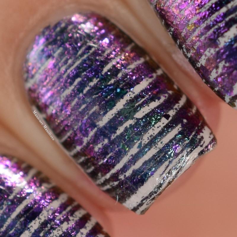 Chameleon Flakes Stamped Nail Art